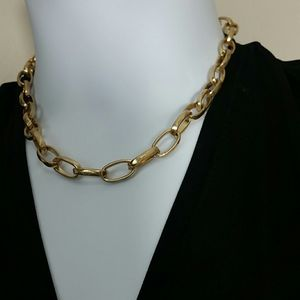 Necklace large link chain brushed gold tone